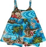 RJC Girls Hibiscus Hawaiian Islands Bungee Dress 2pc Set Turquoise 24 Months