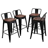 24 Inch Bar Stools with Back Tongli Metal Barstools Set Industrial Counter Height Stools(Pack of 4) Patio Dining Chair Black Wooden Seat Low Back 24