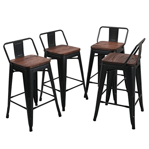 Tongli Metal Barstools Set Industrial Counter Height Stools(Pack of 4) Patio Dining Chair Black Wooden Seat Low Back 24