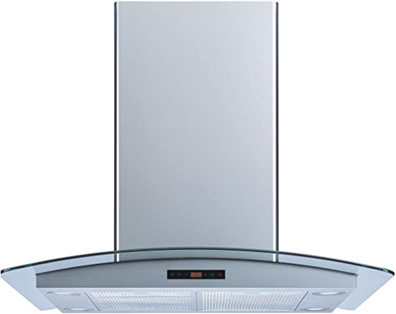 Charcoal Filters and Touch Sensor Control Winflo 30 In 520 CFM Convertible Stainless Steel//Glass Wall Mount Range Hood with Mesh Filter