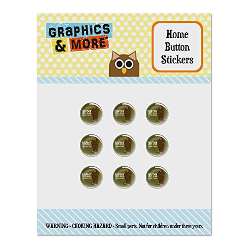 Bigfoot Mini Button (Bigfoot Doesn't Believe In You Either Set of 9 Puffy Bubble Home Button Stickers Fit Apple iPod Touch, iPad Air Mini, iPhone 5/5c/5s 6/6s 7/7s Plus)