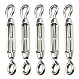Folconauto 5 Pcs M4 Turnbuckle Wire Rope Tensioner Strainer Stainless Steel 304 Hook & Eye Rope Cable Tension Set Heavy Duty