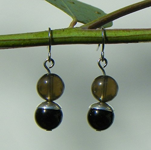 Crystal Gemstone Dangle Earrings with Black Tourmaline and Smoky Quartz on Surgical Stainless Steel, Pair for - Ring Tourmaline Smoky