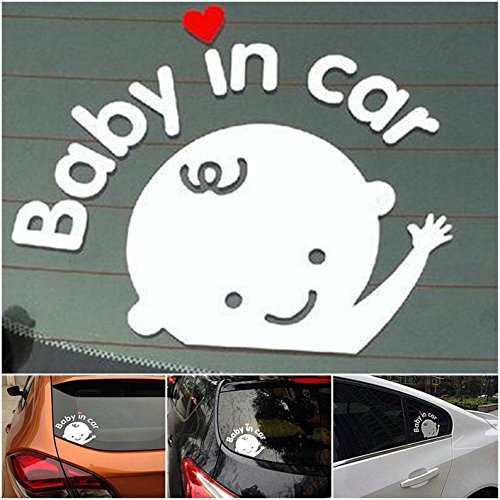 1 Pcs Reliable Unique Baby In Car Window Sticker Sign Logo Waving Decal on Board Kids Room Patches Macbook Laptop Art Wall Funny Decor Graphics Family Vinyl Stickers Decals Boy Style Color White