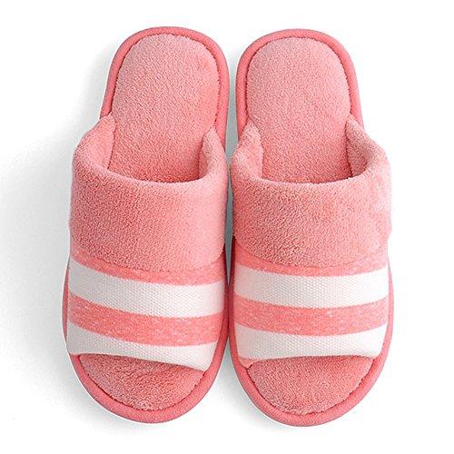 Ciabattone Peluche Comfort Indoor Pantofola Pieghevole Stripe House Scarpe Suola Antiscivolo Rosa Chiaro