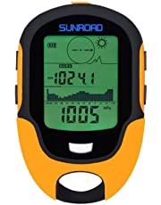 SUNROAD Mini Multifunction Barometer Digital Altimeter Watches Compass Hiking Camping Thermometer Digital Hygrometer Weather Forecast LED Torch Flash Wristwatch