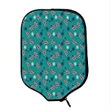 YOLIYANA Paisley Durable Racket Cover,Tribal Inspired Pattern Flower Backgrounded and Floral Designed Inside Print for Sandbeach,One Size
