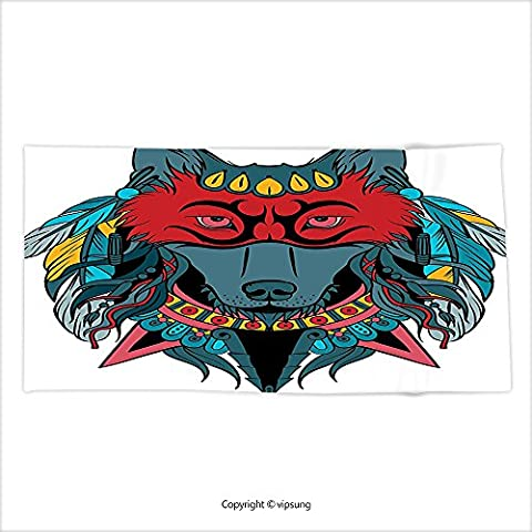 Vipsung Microfiber Ultra Soft Bath Towel Tribal Indian Warrior Wolf Portrait With Mask Feathers Native American Animal Art Teal White And Red For Hotel Spa Beach Pool - Native American Art Masks