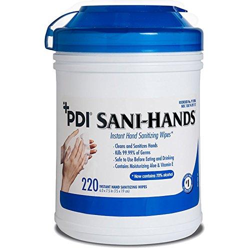 - PDI Sani-Hands Instant Hand Sanitizing Wipes - 1/Tub of 220