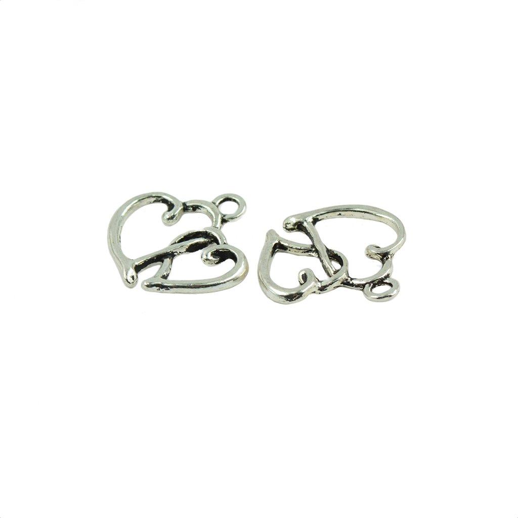 Jili Online 50 Pieces Retro Antique Silver Zinc Alloy Hollow Double Heart Charm Pendant Jewelry Making