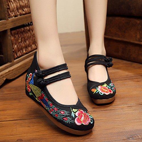 ZLL Gestickte Schuhe, Leinen, Sehnensohle, ethnischer Stil, erhöhte weibliche Schuhe, Mode, bequem, lässig , black , 36