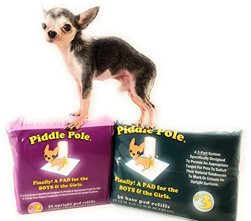 Piddle Pole Value Pack Combination Puppy Pads | Pee Post for Male Dogs | Provides a Target to Urinate On | Pee Pads Upright Pad & Base pad Refills (Value Pack)
