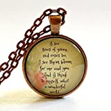 Wonderful World Quote | Quote Necklace | Glass Pendant | Iz | Louis Armstrong | Wedding Song | Trees of Green | Wedding Gift