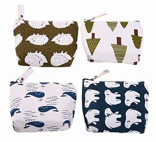 Bonaweite Canvas Coin Purse for Women and Kids, Change Bag with Zip and Liner, Animal Zipper Pouch Under 10, Cute Office Work Gifts for Friends,Colleagues and Families ,Set of 4