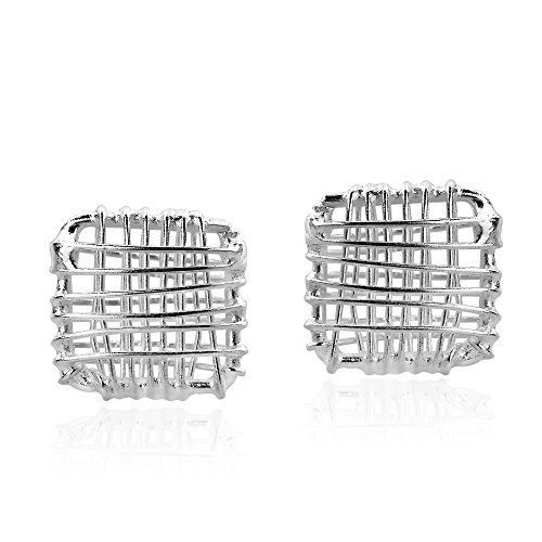 Open Wire Square Post - Open Square Wire Wrap .925 Sterling Silver Post Earrings