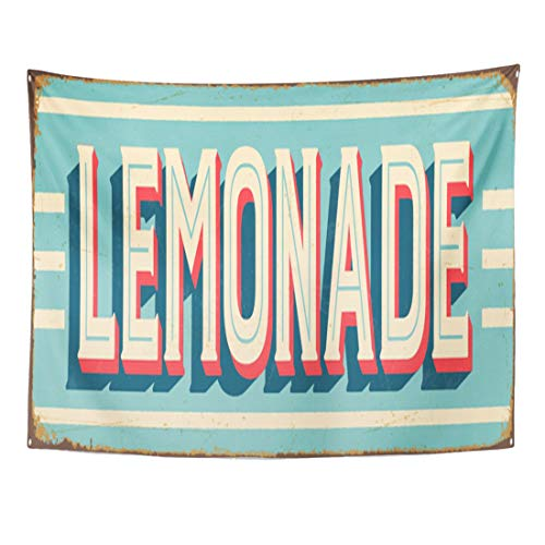 YeaRuRu Tapestry 60 x 50 Inches 1950 Vintage Style Metal Sign Lemonade Effects Can Be Easily Removed Clean 1940 Decoration Tapestries Home Decor Wall Hanging for Living Room Bedroom Dorm