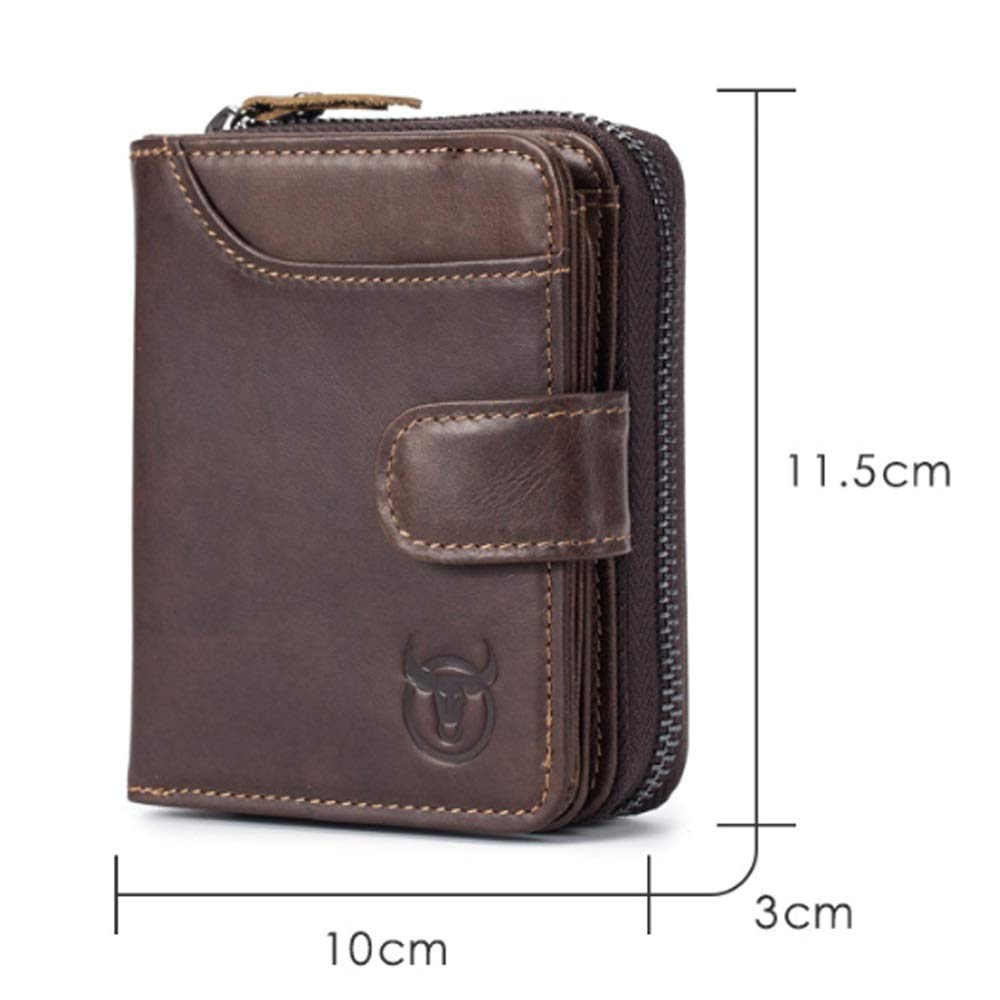 Color : Brown, Size : S, Style : A VAXT Aim Mens Wallet Commencement Layer Leather Organ Card Package Multi-Card Leather Drivers License Photo Album Zipper Wallet