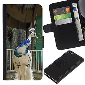 Leather Etui en cuir || Apple Iphone 6 || pájaro del pavo real de la porcelana de la corona azul blanco @XPTECH