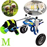Vanell Dog Wheelchair Medium Multi-Function Adjustable Pet Hip Joint Care Wheelchair 10inch Wheel 2 Wheels Cart for Hind Legs Rehabilitation Protect Spine (M (26-55 lbs Dog))