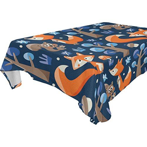 Amazon Com Cicily Tablecloth Fox Orange Blue Table Cloth
