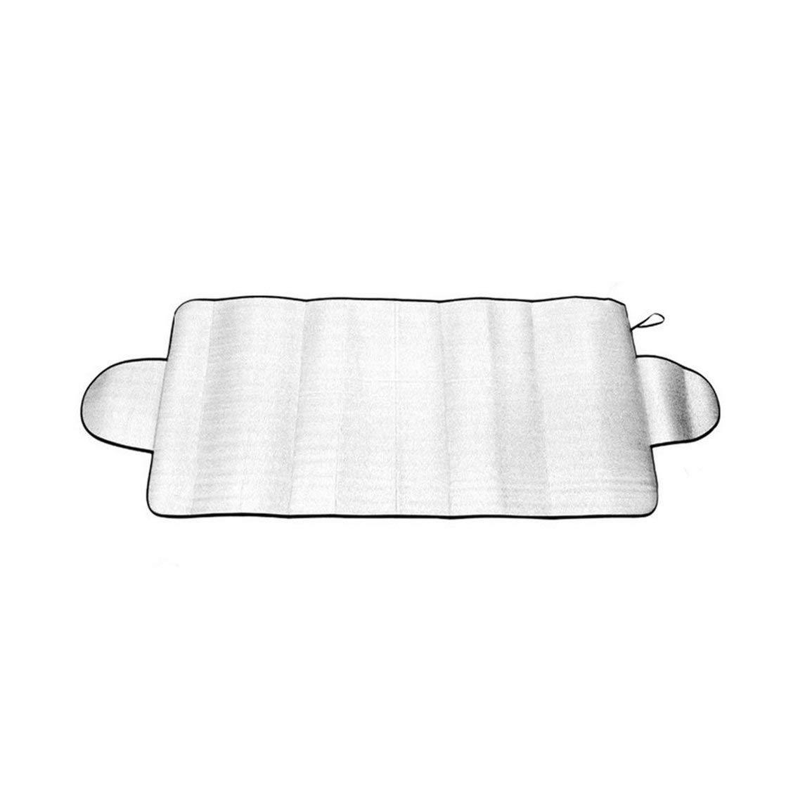 Mazur Couvercle de Pare-Brise Auto Multi-Usage Anti-Ombre Givre Glace Neige Housse protectrice UV Anti-poussiè re Capuchons Voiture en Coton (Argent)