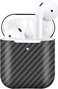 MONOCARBON Genuine Carbon Fiber Case Compatible for AirPods 2 with Wireless Charging Case Apple Wireless Headset Headphone Case Box Wireless Bluetooth Earphone Protective Case - Matte Black