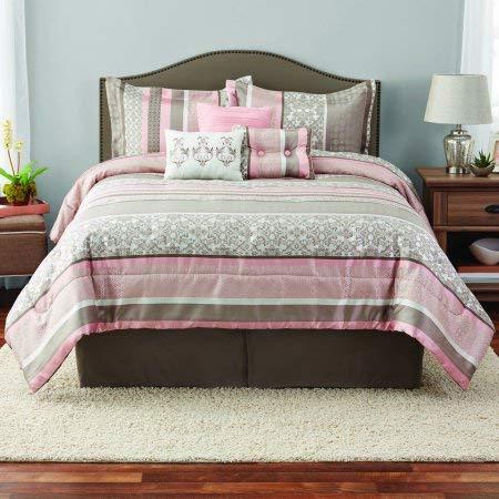 Mainstay Multi Stripe 7-Piece Jacquard Comforter Set, King, Pink ()