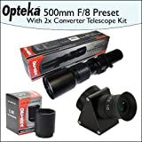 Opteka 500mm f/8 High Definition Preset Telephoto Lens + Lens Converter To Telescope + 2X Teleconverter Kit