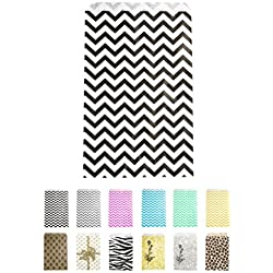 "Novel Box Black Chevron Print Paper Gift Candy Jewelry Merchandise Bag Bundle 4X6"" (100 Count) + Custom NB Pouch"