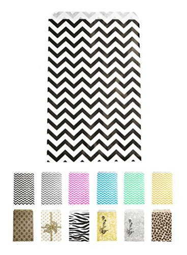 Novel Box® Black Chevron Print Paper Gift Candy Jewelry Merchandise Bag Bundle 6X9