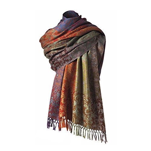 Women's Merino Wool Florentine Wrap/Travel Blanket - Fringed Printed Colorful