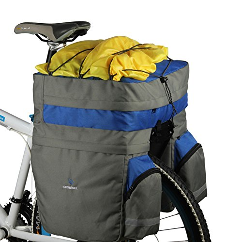 (ROSWHEEL Waterproof 60L MTB Bicycle Carrier Bag 3 in 1 Rear Rack Bike Trunk Bag Luggage Pannier Back Seat Double Side Cycling Bag Two Bags Outdoor Cycling Saddle Storage 14590 with Rain Cover - Blue)