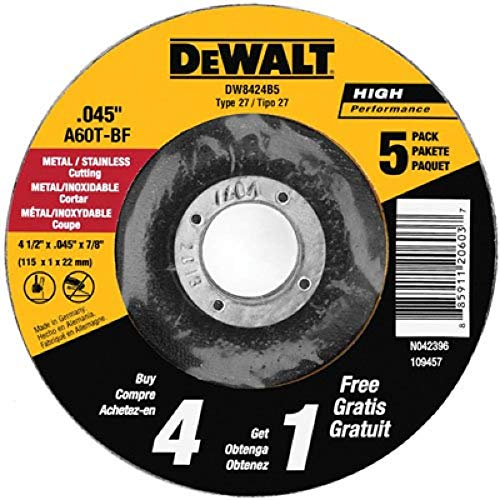 DEWALT Cutting Wheel, All Purpose, 4-1/2-Inch,  5-Pack (DW8424B5) (Tamaño: 4-1/2-Inch by 0.045-Inch)