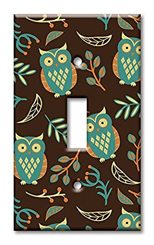 Art Plates - Single Gang Toggle OVERSIZE Switch / Wall Plate - Brown Owls - Oversize Light Switchplates