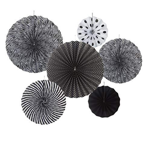 MOWO Black and White Paper Fans Hanging Decoration (black,white, 6pc)
