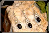 Black Onyx Silver Necklace and Earring Set Celtic in 925 silver 20'' sterling silver chain birthday gift for her mother gift bridesmaid