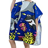 Peicees Kids Beach Swim Pool Towel Toddler Baby Children Bath Shower Towel Bathrobe Hooded Poncho For 2-10 Years Old Boys and Girls(Shark 2)