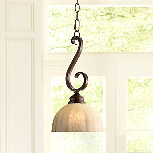 "Ferro 8"" Wide Iron Scroll Mini Pendant Light - Franklin Iron Works"