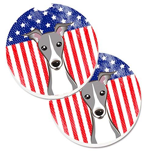 Caroline's Treasures American Flag & Italian Greyhound Set of 2 Cup Holder Car Coasters BB2166CARC, 2.56, Multicolor ()