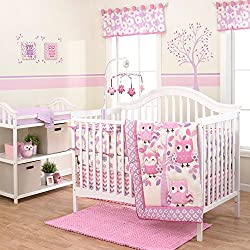 Dancing Owls Chevron Purple and Pink Flower for girls 3 Piece Crib Bedding Set by Belle