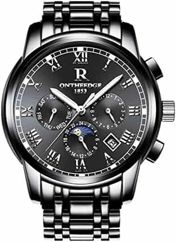 Mens Swiss Automatic movement Watches,Stainless Steel Waterproof Wrist Watch (black)