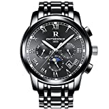 Mens Swiss Automatic movement Watches,Stainless Steel Waterproof Wrist Watch (black)