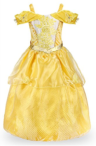 JerrisApparel Girls Princess Belle Costume Halloween Party Off Shoulder Dress (7 Years, Yellow) ()