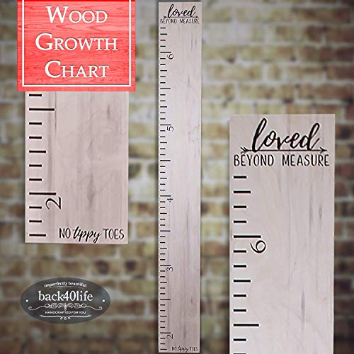Back40Life | Premium Series - (No Tippy Toes - Loved Beyond Measure) Wooden Growth Chart Height Ruler (Weathered Natural)