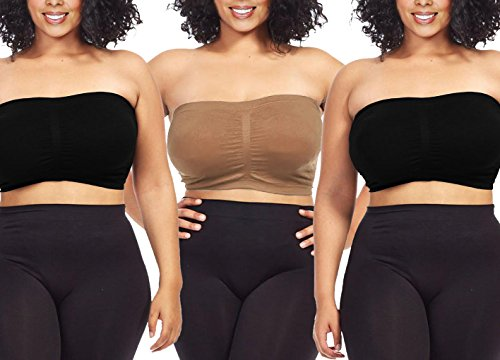 efdd866dea1c3 3-Pack Plus Size Seamless Strapless Bandeau Tube Top Bra-Black-Taupe-Black-1XL-2XL  - Buy Online in Oman.