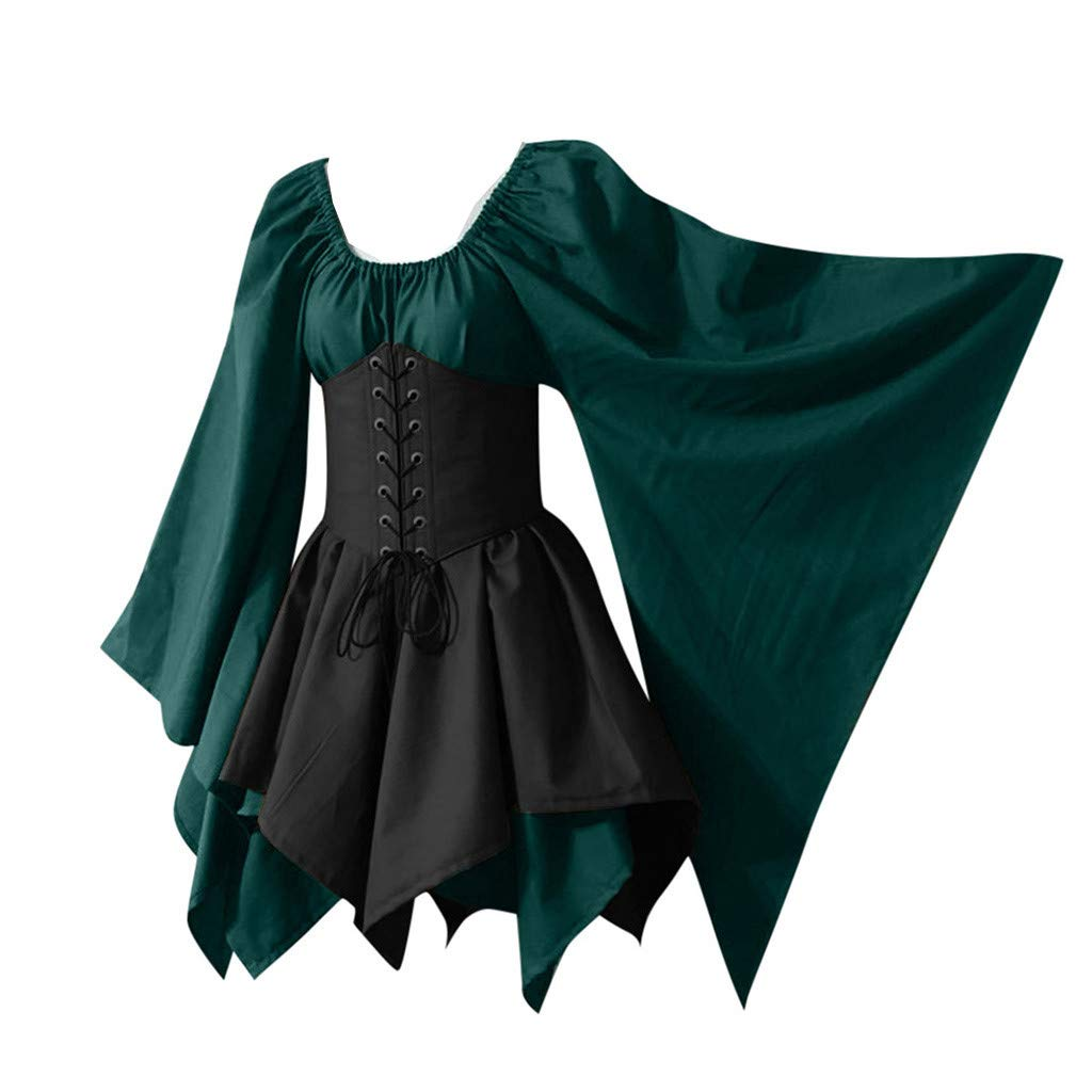Dermanony Halloween Mini Dress for Women Medieval Cosplay Costumes Gothic Retro Long Bat Sleeve Corset Dress Plus Size Green by Dermanony _Dresses
