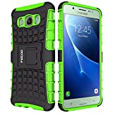 Galaxy J5 Case,Pegoo Shockprooof Impact Resistant Hybrid Heavy Duty Dual Layer Armor Hard Plastic and Soft TPU With a Kickstand bumper Protective Cover Case for (2016) Samsung Galaxy J5 (Green)