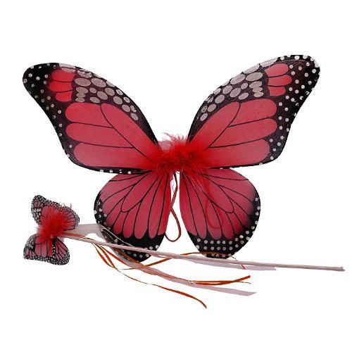 Red Monarch Butterfly Wing & Wand Set -