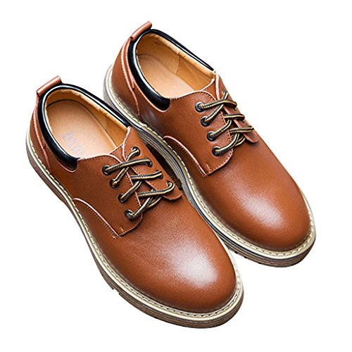 Dear Time Men Lace Up Casual Oxford Shoes Brown AyMBx
