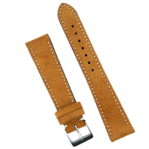 B & R Bands 20mm Camel Classic Suede Watch Band Strap - Medium (Mens Camel Italian Suede)